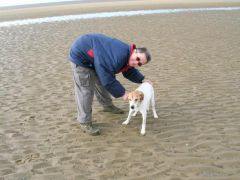 Tuppence and I.  Hunstanton beach May 2007.
